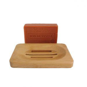 Sandelhout zeep met bamboe zeephouder