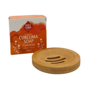 Kurkuma zeep met bamboe zeephouder